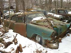 55 Chevy Abandoned Cars, Abandoned Places, Junkyard Cars, Wrecking Yards, Forgotten Treasures, Car Barn, Rust In Peace, Rusty Cars, Classy Cars