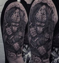 Start of a japanese , demon- god related sleeve. Thank you Sebastian. #kwadron #tattoome #h2oceanproteam