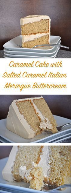 """Caramel Cake with Salted Caramel Italian Meringue Buttercream. If you've never had Italian Meringue Buttercream, you are missing out! It's sublimely smooth and not too sweet. I've never met anyone who doesn't love it – even the """"non-frosting"""" people (you Frosting Recipes, Cake Recipes, Dessert Recipes, Buttercream Recipe, Italian Buttercream, Just Desserts, Delicious Desserts, Yummy Food, Healthy Desserts"""