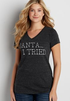 heathered tee with Santa I tried graphic (original price, $20.00) available at #Maurices