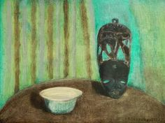 "Saatchi Art Artist Filip Szczuko; Painting, ""Still life with African mask"" #art"