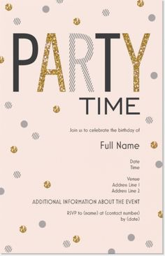 "Confetti Vertical Flat Invitations - 5""x7"", instead of pink use white for Parents' Hollywood Themed Birthday party!"