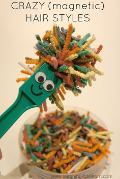 Creative and fun way of using magnets with children. Simply add a face to any magnet and use small strips of pipe cleaners to create wild and wacky hair designs. Laughing Kids Learn.com