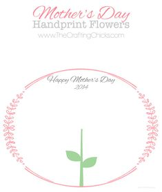 Mother's Day Handprint Flower 2014 printable