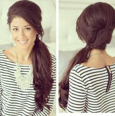bridal hairstyles side pony straight hair - Google Search