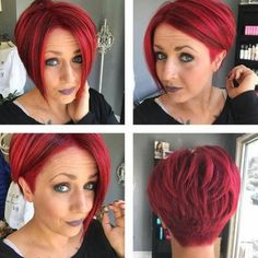 Short Red Hair, Short Hair Cuts For Women, Short Hair Styles, Shaved Side Hairstyles, Cool Hairstyles, Sassy Hair, Haircut And Color, Red Pixie Haircut, Love Hair