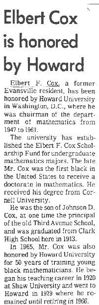 Elbert Frank Cox, el Obama de las Matemáticas.
