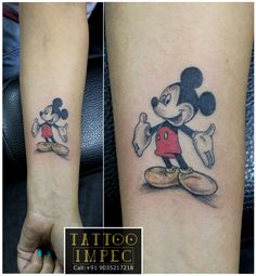 <3 Mickey mouse tattoo <3  Innocence # Loyalty #  ;) Get inked from Experienced Tattoo Professional.. Call: Sunil C K @ +91 9035217218 to book your appointment.  www.facebook.com/tattooimpec