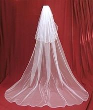 2015 Free Shipping Veil In Bride Veils Charming Ivory/white 2 Tier Cathedral Wedding Veil With Comb Lace Purfles Custom 3 Meters(China (Mainland))