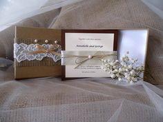 Burlap and lace elegant boxed wedding by MelindasSewingCorner