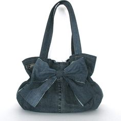 Recycled bow purse  Eco friendly handbag  denim bow by Sisoibags, $60.00