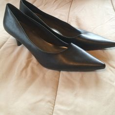 """Size 12 Black Dress Pump Size 12 black dress pump. 2.5"""" heel. Pointed toe. Worn only once. Man made materials. NOT leather. Shoes Heels"""
