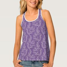 Lavender and White Leafy Lace Look Tank Top - pattern sample design template diy cyo customize