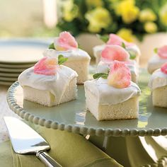 """Heavenly angel food cake from Southern Living magazine. """"The rich, moist texture of this cake is unlike any other. Made from scratch in minutes, it's spread with frosting that's a lemon lover's dream."""""""
