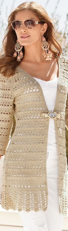 BOHO CHIC FASHION Get ready for this Spring, with trends of delicate lace fabrics, casual crochet, and romantic bohemian looks. Boston P. Crochet Coat, Crochet Jacket, Lace Jacket, Crochet Cardigan, Crochet Clothes, Sweater Cardigan, Teen Fashion, Boho Fashion, Boho Chic