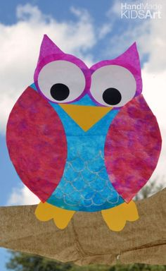 Halloween Crafts for Kids: Owl  This fall activity is easy for all ages. Create your own sun catcher and hang in the window. Easy fun craft for kids.