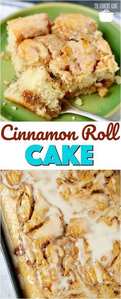 Cinnamon Roll Cake recipe from The Country Cook #cakes #cinnamon #homemade #desserts #recipes #ideas #cinnamonroll