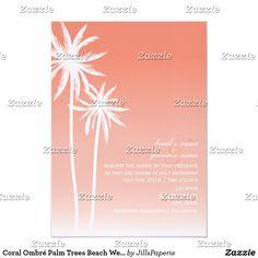 Coral Ombré Palm Trees Beach Wedding Card
