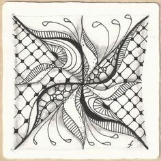 Pattern Play with Pens: Weekly Challenge: 64 - String Theory VIII - Fortune Teller    - #DRAW #ZENTANGLE #ZENDALA #TANGLE #DOODLE #BLACKWHITE #BLACKANDWHITE #SCHWARZWEISS