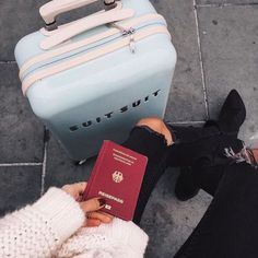#travel #suitcase #passport #fashion #sweater #jeans #rippedjeans #heels #shoes #wanderlust