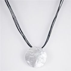 Silver Hammered Pendent Necklace