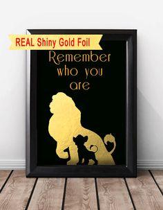 Shiny Gold Foil Lion King Print, Disney Quote, Nursery Decor Boy. Lion King Remember Who You Are, Simba Print, Lion King Art Wall Decor.