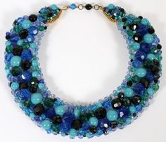 "COPPOLA E TOPPO BLUE BEAD COLLAR NECKLACE, L 15"":Multicolor blue faceted and smooth beads; signed at the clasp, made in Italy."