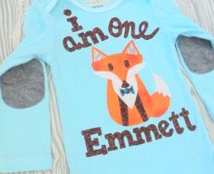 Boys Fox 1st birthday outfit one piece or tee by RockabyeJoss