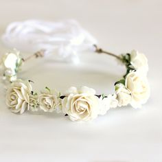 Flower Crown - Wedding Bride Bridesmaid Hen's Party Flower Girl  High Tea Engagement Photo Shoot Vintage Maternity - ROMANTIC ROSES in Ivory