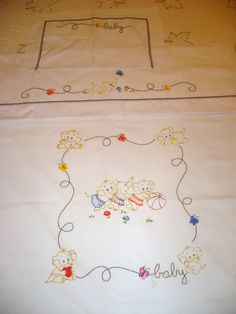 Pin about Baby embroidery, Baby quilts and Baby sheets on Bordados Baby Applique, Baby Embroidery, Embroidery Patterns Free, Ribbon Embroidery, Embroidery Designs, Baby Sheets, Baby Bedding Sets, Quilt Baby, Brother Innovis