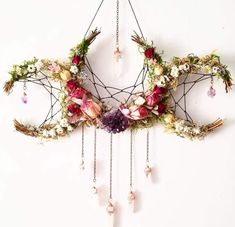 Pagan crafts - Flower crystal crescent moon dream catcher inspired hanging decoration > boho nature decor for the home Boho Dekor, Witch Decor, Pagan Decor, Spiritual Decor, Pagan Altar, Witch Craft, Spiritual Gifts, Arts And Crafts, Diy Crafts