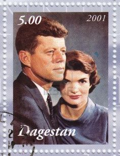 Dagestan - 2001: Stamp printed in Dagestan shows John Kennedy with wife Jacqueline.