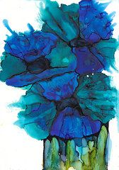 Alcohol Ink Art - Blue poppies by Kitty Van den Heuvel
