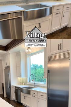These stainless appliances contrast with the white cabinets to give your kitchen an elegant touch. Who doesn't love a farmhouse sink?! Kitchen Village, White Cabinets, Kitchen Cabinets, Stainless Appliances, At Home Store, Home Kitchens, Contrast, Sink