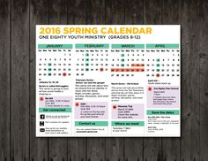 Freebie: Spring 2016 Monthly Calendar - Youth Ministry Media