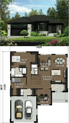 Perfect for small lot departamentos Sims House Plans, House Layout Plans, New House Plans, Dream House Plans, Modern House Plans, Small House Plans, House Layouts, House Floor Plans, Small House Design