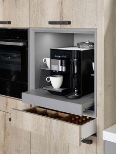 Kaffeemaschine im Schrank integrieren - Schrank ideen Integrating the coffee machine in the cabinet Home Decor Kitchen, Kitchen Furniture, New Kitchen, Home Kitchens, Kitchen Pantry Cabinets, Kitchen Storage, Kitchen Appliances, Pantry Design, Cabinet Design