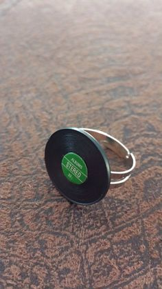 Green and black vinyl record album ring by LoveAlwaysGina on Etsy, $5.00