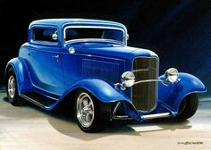 Candy Apple Blue 1932 Ford 3W Coupe • 12 x 18 Limited Edition Print (75), $49.50