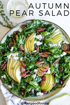 An autumn pear salad is the perfect addition to your holiday spread. It's flavorful, healthy and so easy to throw together with kale, feta, pecans & grapes and a special dressing - great for a Thanksgiving side or starter salad Autumn Pear Salad Best Salad Recipes, Fall Recipes, Vegetarian Recipes, Cooking Recipes, Healthy Recipes, Recipes With Kale, Dinner Salad Recipes, Simple Salad Recipes, Green Salad Recipes
