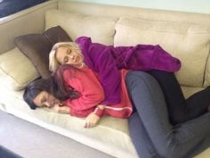 Claire and Nina taking a nap on set.