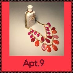 Apt 9 statement necklace Beautiful gold colored statement necklace with 2 strands of in Orange, Mauve, and Maroon and peach colored beads Apt. 9 Jewelry Necklaces