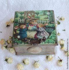 """Чайная шкатулка """"Зайки"""" - оливковый,зайки,шкатулка деревянная,для чая"""