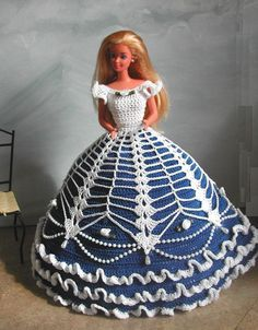 CROCHET FASHION DOLL PATTERN-#584 COTILLION BALL GOWN #4 #ICSORIGINALDESIGNS