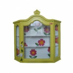 vitrinekastje geel retro