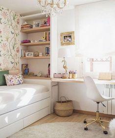 Cute Small Teen Bedroom Ideas - Home Design - lmolnar - Best Design and Decoration You Need Bedroom Decor For Teen Girls, Teenage Girl Bedrooms, Childrens Room Decor, Trendy Bedroom, Modern Bedroom, Girl Rooms, Bedroom Themes, Contemporary Bedroom, Ikea Teen Bedroom