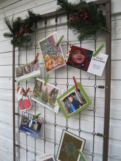 10 DIY Holiday Christmas Card Display Ideas - spray paint crib frame red or bronze iron & attach greenery on top Christmas Holidays, Christmas Crafts, Christmas Decorations, Xmas, Christmas Ideas, Celebrating Christmas, Christmas Tablescapes, Christmas Stuff, Winter Holidays