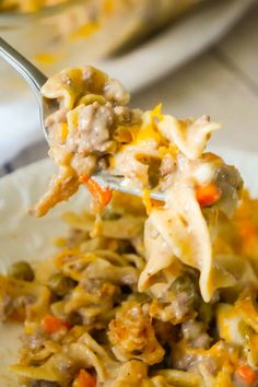 Hamburger Noodle Casserole is an easy ground beef casserole recipe loaded with egg noodles, veggies, cheese and crispy fried onions. Beef And Rice, Beef And Noodles, Egg Noodles, Dinner Recipe Using Hamburger, Beef Recipes For Dinner, Easy Ground Beef Casseroles, Ground Beef Recipes, Vegan Recipes Easy, Diet Recipes
