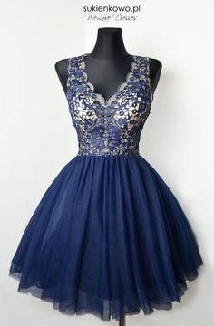 Koronkowo tiulowa sukienka BABY granatowa