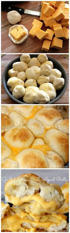 Grilled Cheese Pull-Apart Rolls~T~ These are so easy. Uses two things I don't usually use(canned biscuits and velvetta cheese), but had to try them. Brushed with melted butter and topped with some parm. cheese, plus some herbs. The kids loved